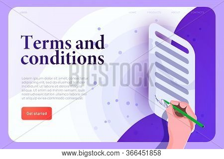 Terms And Conditions, Terms Of Use Legal Agreement Illusrtation Concept. Signing Hand