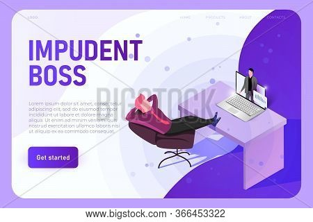 Impudent Boss Illustration Concept, Landing Page Template. Boss With Legs On His Table