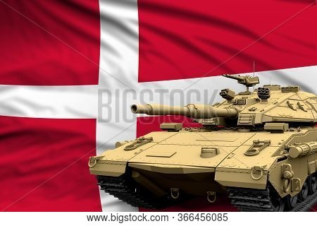 Heavy Tank With Fictional Design On Denmark Flag Background - Modern Tank Army Forces Concept, Milit