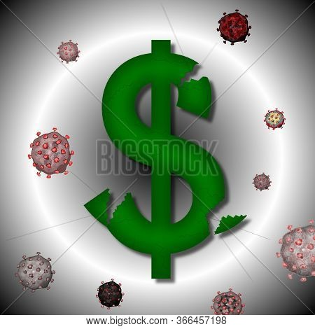 Sign Of The Broken American Dollar And Virus