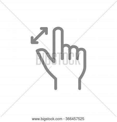 Unpinch With Two Fingers Line Icon. Multi Touch Screen Gestures Symbol