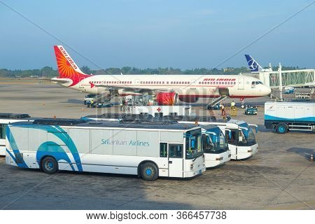 Negombo, Sri Lanka - February 24, 2020: Aircraft Airbus A321-211(vt - Ppk) Air India Airline Prepare
