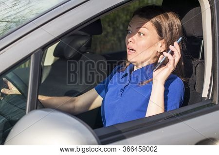 Beautiful Woman, Frightened Fearful Girl, Driver, Young Shocked Lady About To Have Traffic Accident,