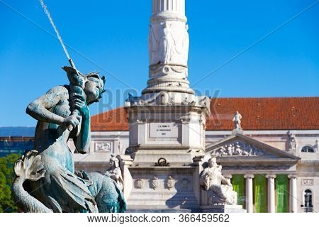 Rossio Square Is The Popular Name Of The Pedro Iv Square In Lisbon, In Portugal