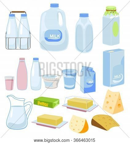 Cartoon Dairy Products, Milk, Cheese, Yoghurt. Milk Product Set Isolated On Background, Healthy Milk
