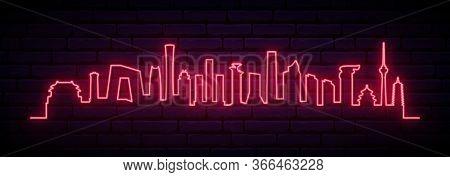 Red Neon Skyline Of Beijing City. Bright Beijing Long Banner. Vector Illustration.