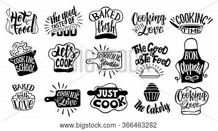 Cooking Related Typography Set. Quotes About Kitchen. Cooking Wordings. Restaurant, Menu, Food Label