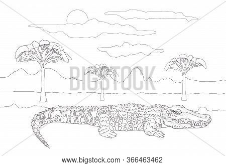 Coloring Book For Adults And Children With A Crocodile Against The Backdrop Of A Landscape With Tree
