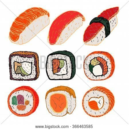 Sushi Rolls Flat Food And Japanese Seafood Sushi Rolls. Sushi Rolls Traditional Seaweed Fresh Raw Fo
