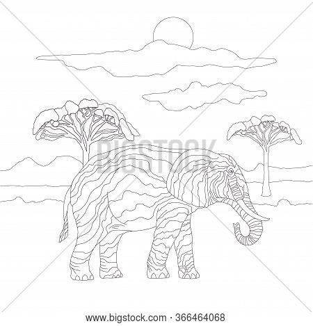 Coloring Book For Adults And Children With A Large Elephant On The Background Of A Landscape Of Sky