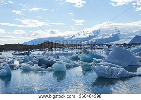 Amazing View Of Glacier Lagoon In Vatnajokull National Park In Iceland On A Beautiful Sunny Day. Ice