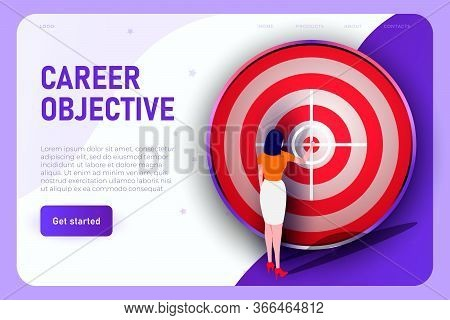 Purposeful Businesswoman Indicates The Center Of The Target. Career Objective Illustration Concept,