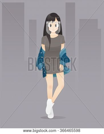 Teenage Girl Wearing Face Shield To Protect Coronavirus Or Covid-19, Vector Illustration In Characte