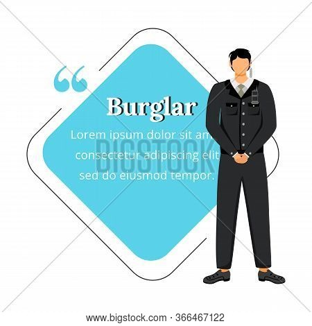 Security Guard Flat Color Vector Character Quote. Theft Prevention. Precautions. Bodyguard. Supervis
