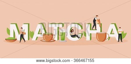 Matcha Word Concepts Flat Color Vector Banner. Green Tea Latte. Oriental Drink. Japanese Cafeteria.