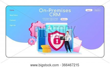 On Premises Crm Landing Page Flat Color Vector Template. Man Standing On Laptop Homepage Layout. Dat