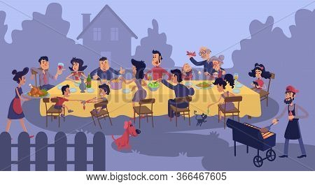 Big Family Gathering At Table Outdoors Flat Color Vector Illustration. People Having Supper. Grandpa