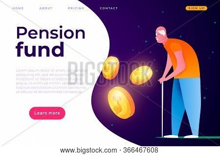 Pension Fund Landing Page Cover Template, Pension Payments Illustration Concept. Web Page Header Tem
