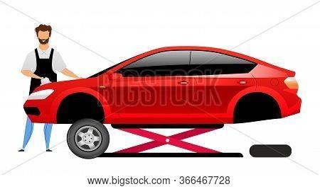 Auto Mechanic Flat Color Vector Faceless Character. Smiling Repairman Polishing Sedan On Car Lift Is