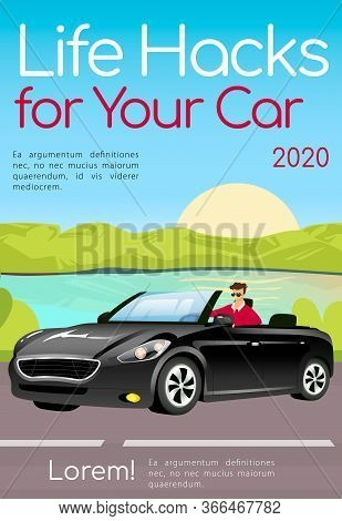 Life Hacks For Your Car Poster Flat Vector Template. Useful Tips For Auto Enthusiasts Brochure, Maga