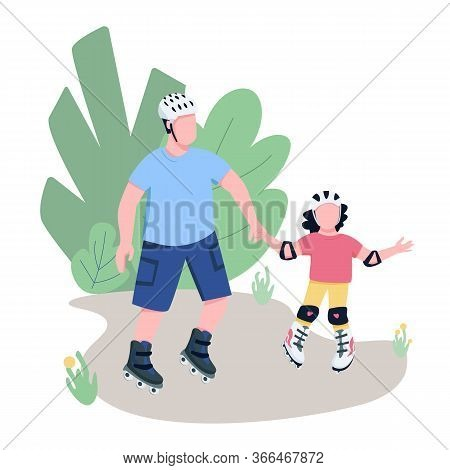 Father And Child Roller Skating Flat Color Vector Faceless Characters. Dad And Daughter Rollerbladin