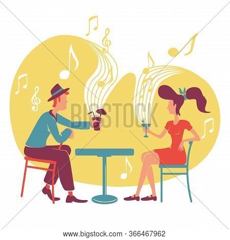 Jazz And Cocktail Bar 2d Vector Web Banner, Poster. Elegant Vintage Couple At Retro Club Date Flat C