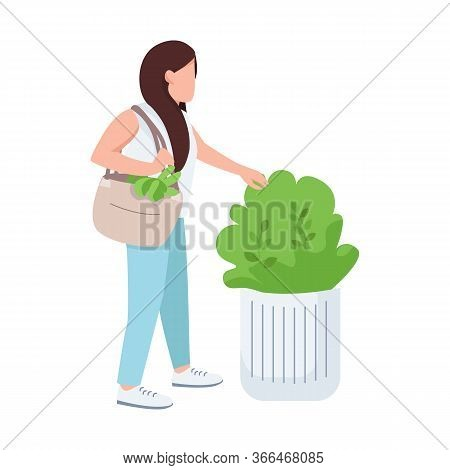 Female Touching Bush, Nature Lover, Young Girl And Greenery Flat Color Vector Faceless Character. Pl
