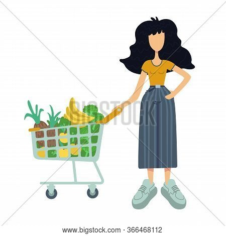 Zero Waste Flat Cartoon Vector Illustration. Woman Holds Pushcart With Natural Food. Vitamin Diet. R