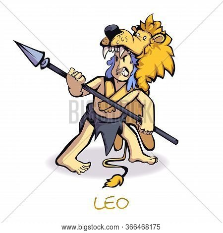 Leo Zodiac Sign Man Flat Cartoon Vector Illustration. Caveman In Lion Skin Astrological Symbol. Read