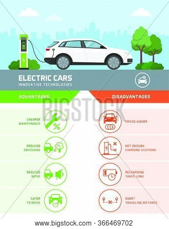 Electric Cars Advantages And Disadvantages Vector Infographic, Icons Set