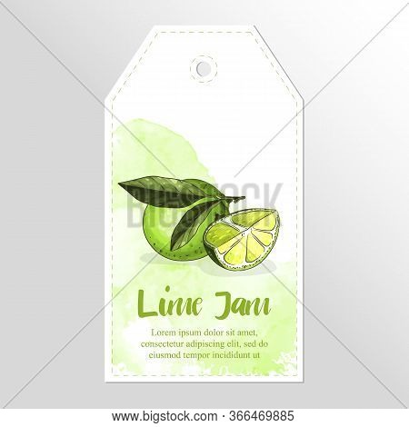 Label Or Sticker Design With Lime Illustration. Homemade Lime Jam. For Natural Or Organic Fruit Prod