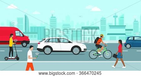 Smart Transportation, Driverless Cars And People Connecting In The City Street, Smart City Concept