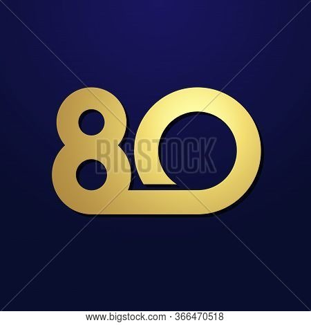 80 Th Anniversary Numbers. 80 Years Old Logotype. Shining Golden Congrats. Isolated Abstract Graphic