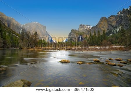 Beautiful View In Yosemite Valley With Half Dome And El Capitan In Winter From Merced River