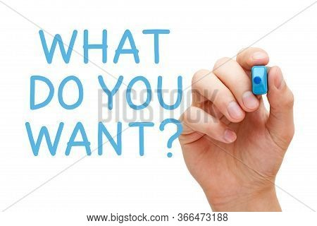 Hand Writing The Question What Do You Want With Blue Marker On Transparent Wipe Board Isolated On Wh