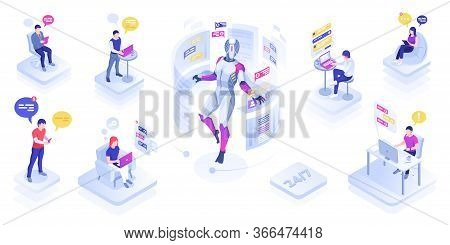 Chat Robot Or Virtual Assistant Helping Users. Chatbot Or Support Bot Message People. Ai Operating.