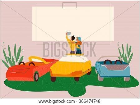 Open Air Cinema. Outdoor Relax, Car Movie . Dating Couples Watch Movie Vector Illustration. Urban En