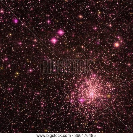 Starry Sky Seamless Pattern.  Red Abstract Background. Design For Wrapping Paper, Yoga Mat Or Fabric