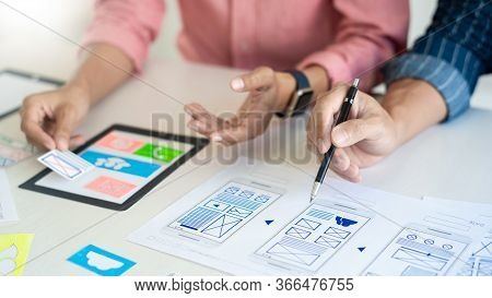 Team User Experience (ux) Designer Creative Graphic Planning Or Designing Application Development A