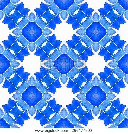 Chevron Watercolor Pattern. Blue Ravishing Boho Chic Summer Design. Textile Ready Actual Print, Swim