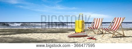 Summer vacation on the Baltic Sea beach with an empty beach lounger as a concept for rest and relaxation (3D Rendering)
