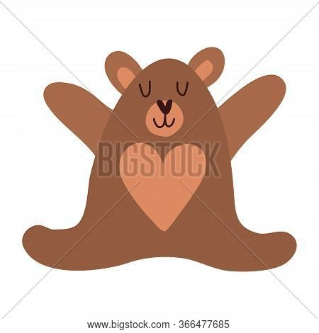 Cute Cartoon Teddy Bear. Vector Illustration In Scandinavian Style. T-shirts, Apparel Design Clothes
