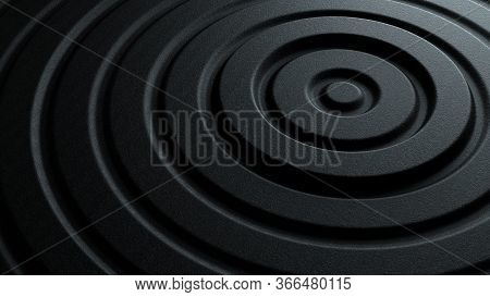 3d Illustration Of Dark Black Abstract Pattern Of Concentric Round Shaped Ripples With Rough Stone T