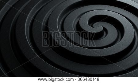 3d Illustration Of Black Abstract Spiral Pattern With Dark Rough Stone Texture For Business Presenta