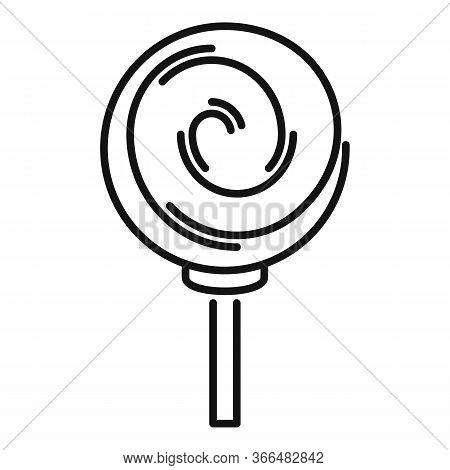 Sugar Lollipop Icon. Outline Sugar Lollipop Vector Icon For Web Design Isolated On White Background