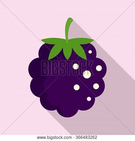 Food Blackberry Icon. Flat Illustration Of Food Blackberry Vector Icon For Web Design