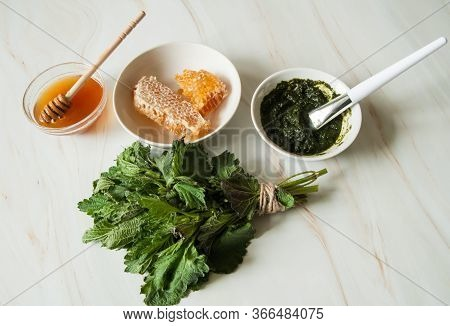 Natural Home Skin Care. Ingredients Of A Face Mask. Nettle Dioecious, Honeycomb And Ready-made Mixtu