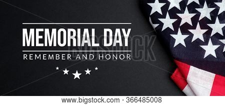 Memorial Day In United States. Remember And Honor With American Flag