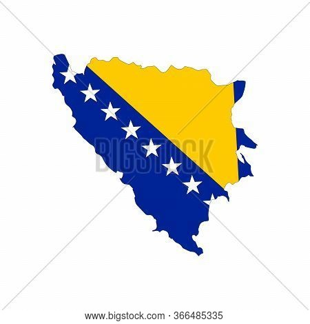 Map Of Bosnia And Herzegovina. Vector Design Isolated On White Background. Shape Of Bosnia And Herze