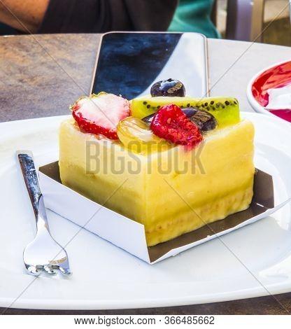 Cake, Passion Fruit Semifreddo Cube